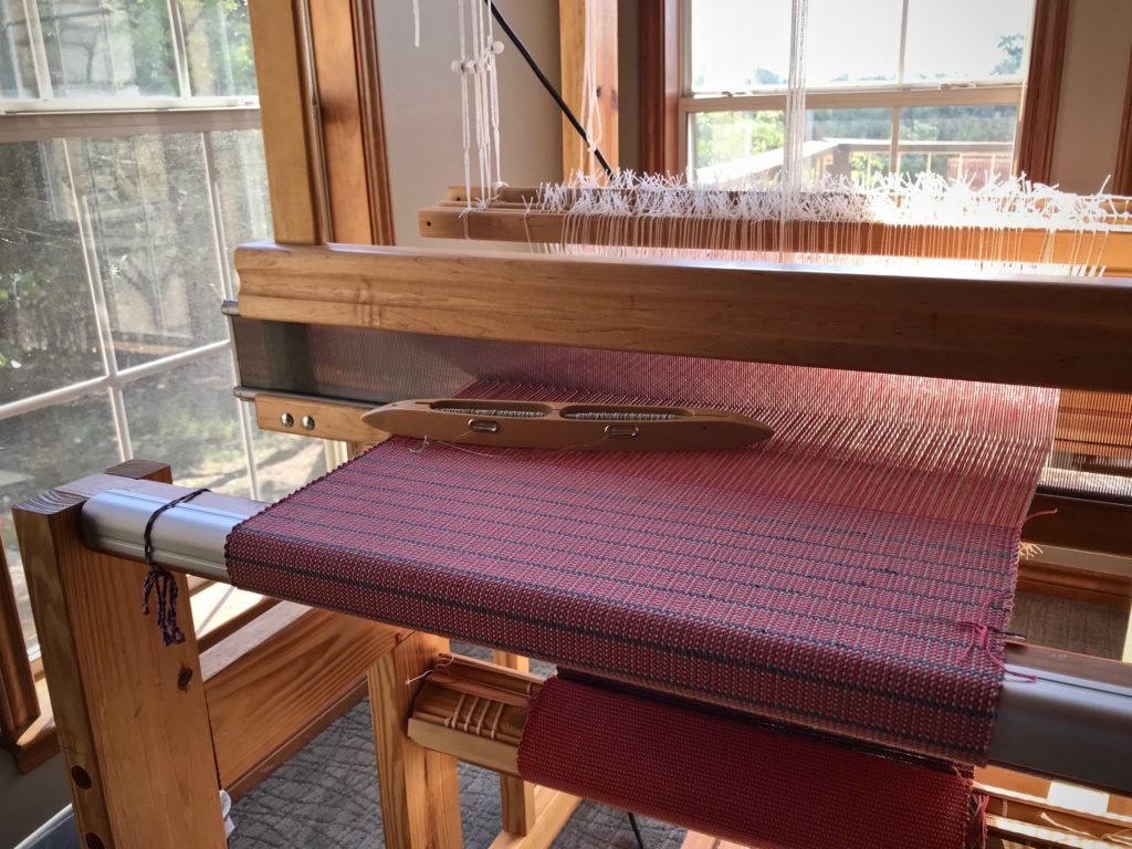 Cotton placemats on the loom.
