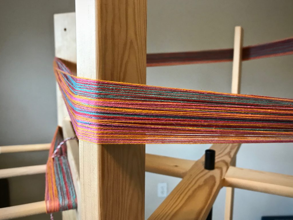 New warp on the warping reel.