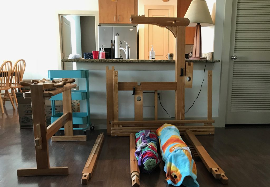Getting ready to re-assemble loom.
