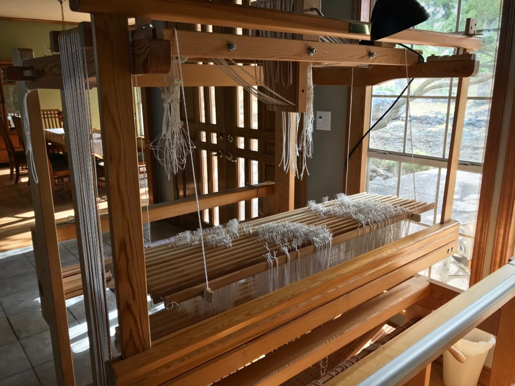 Twelve shafts for this double-weave project.