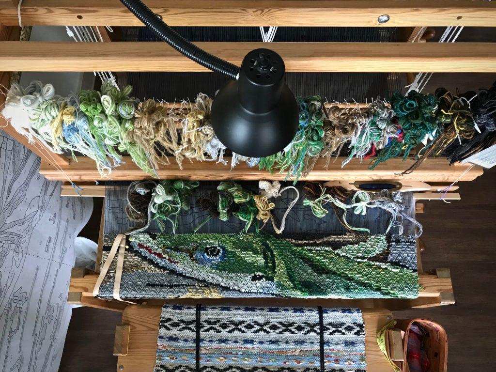 Four-shaft Lizard tapestry. Karen Isenhower