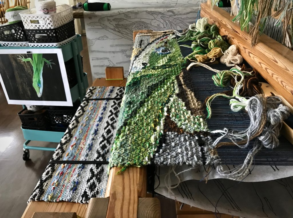 Lizard tapestry in progress. Glimakra Ideal loom.
