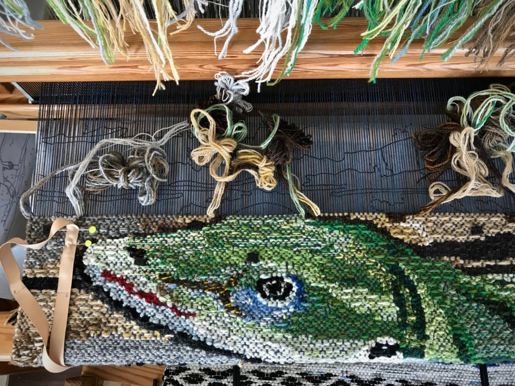 Lizard tapestry. Top of the head almost finished.