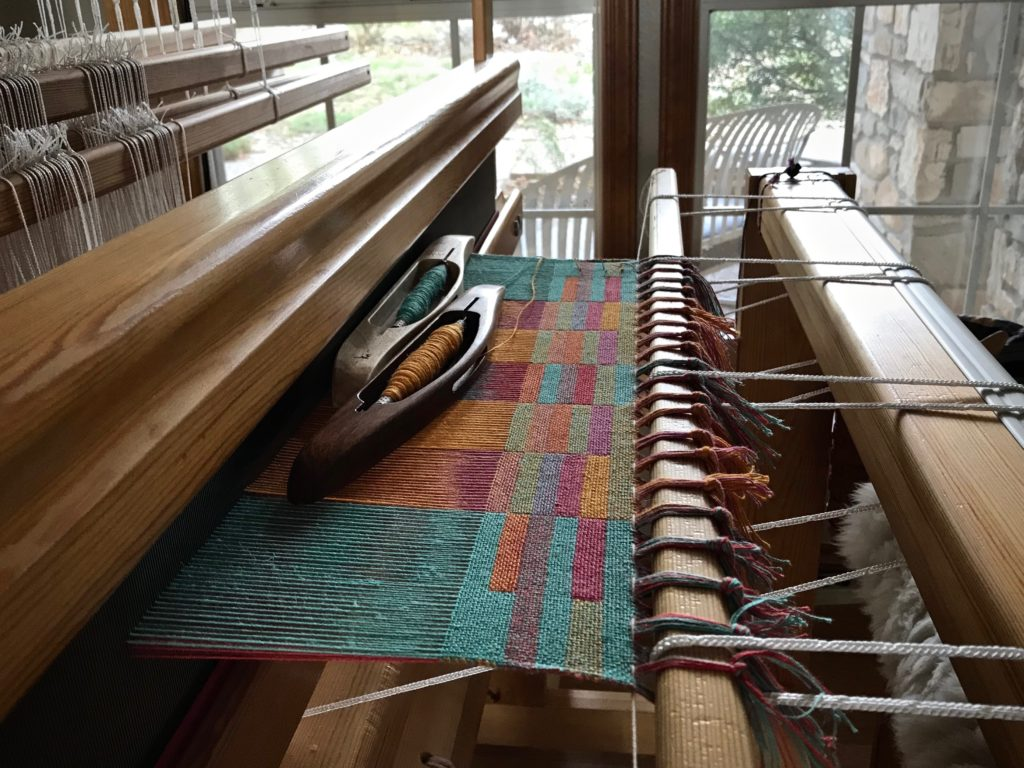 Double-weave towels on twelve shafts. Beginning sample.