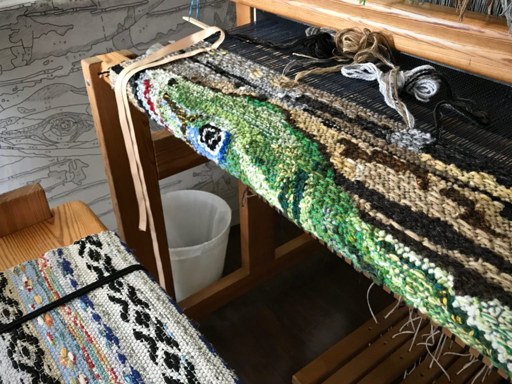 Lizard tapestry. Four-shaft tapestry on a Glimakra Ideal.