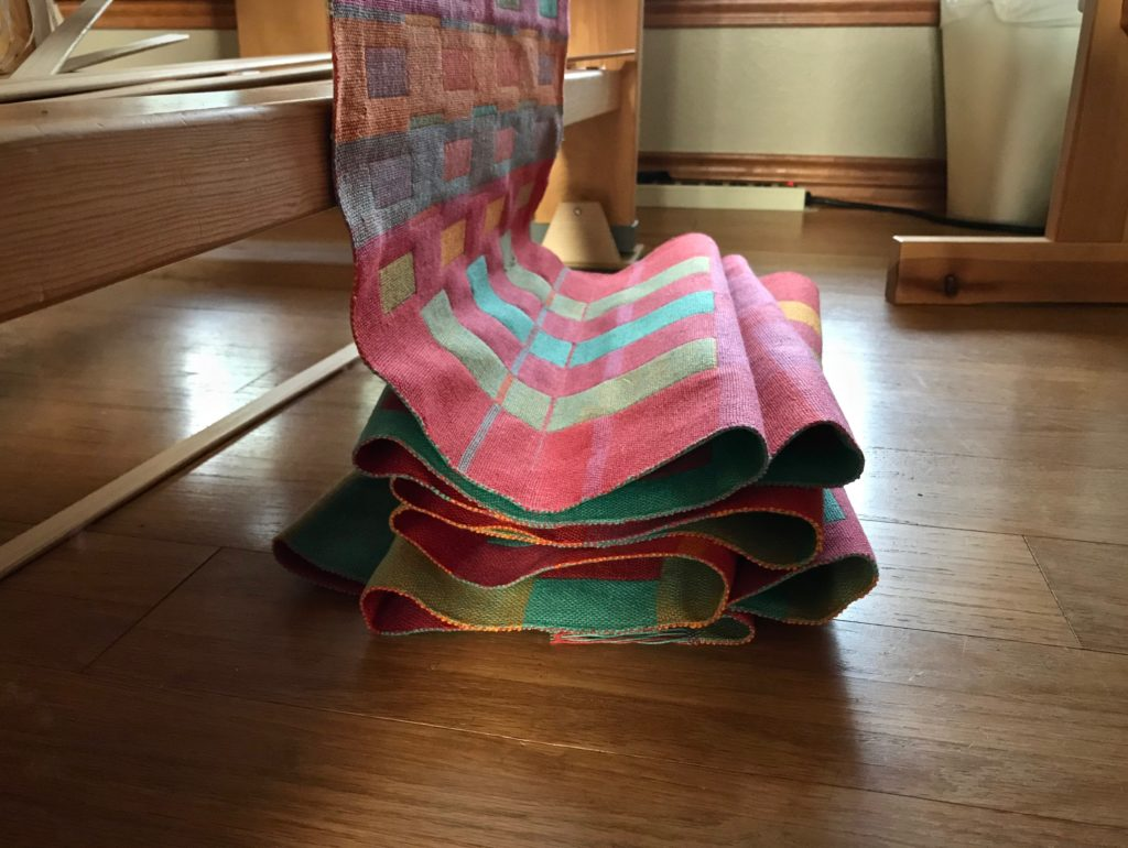 Cloth puddle of double weave towels. Cutting off!