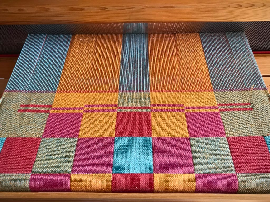 Double weave towels on the loom.