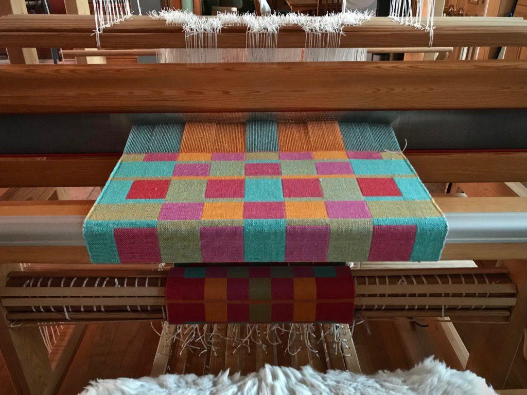 Double weave cottolin towels on the loom. Karen Isenhower