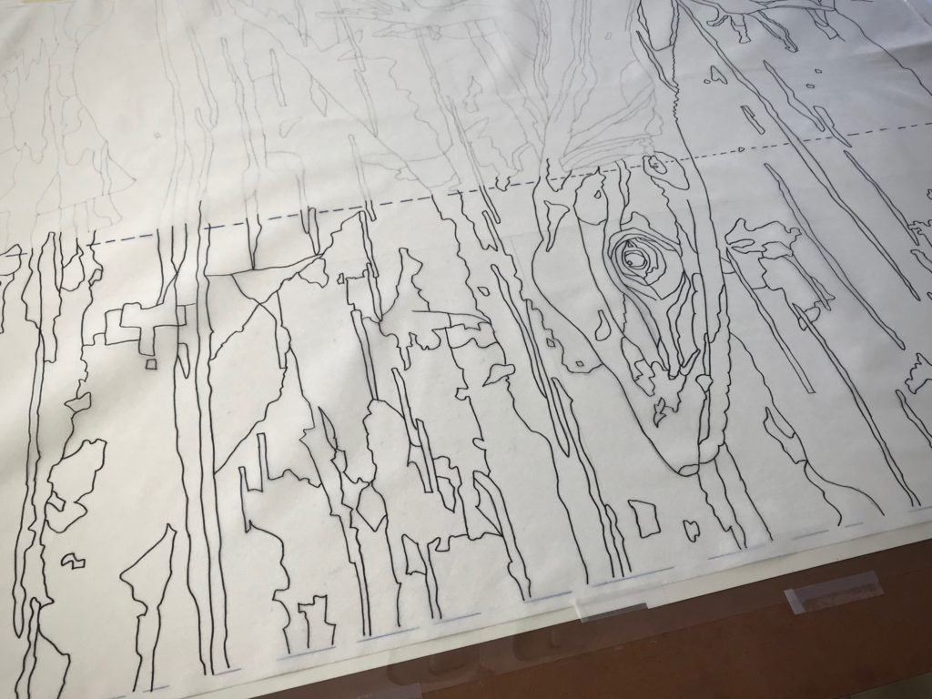 Making a tapestry cartoon.