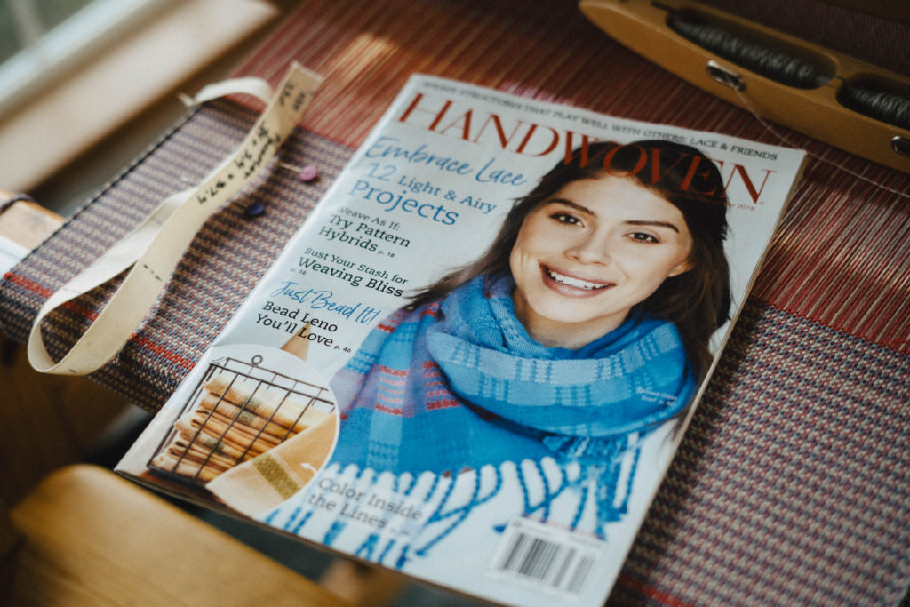 Handwoven Nov/Dec 2018 - Stained Glass scarf on the cover!