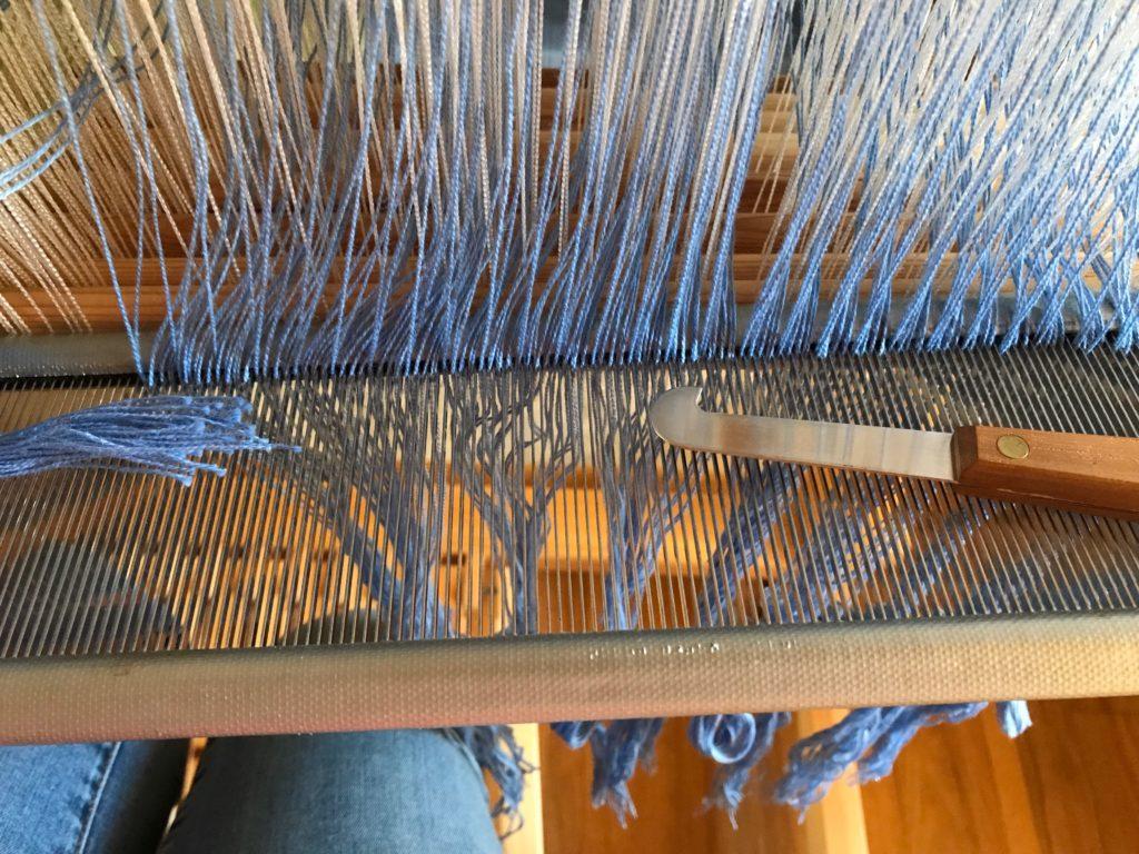 Sleying the reed on Glimakra Standard.