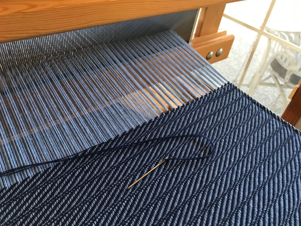 Hemstitching at the end of the cotton throw.