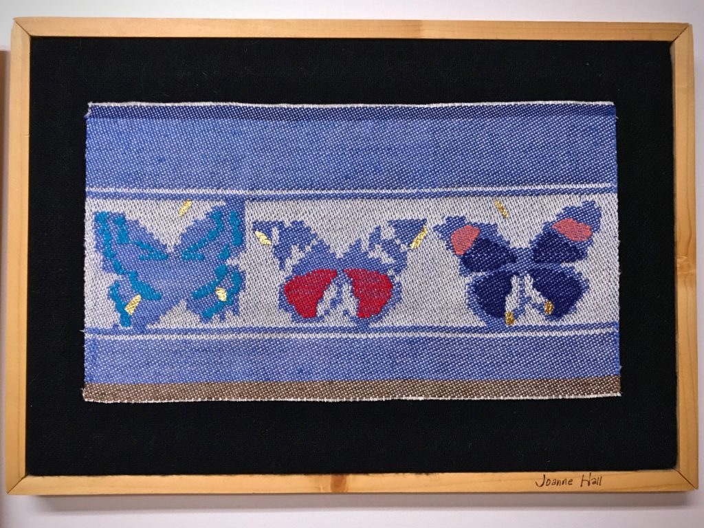 Butterflies, woven by Joanne Hall on a single unit drawloom.