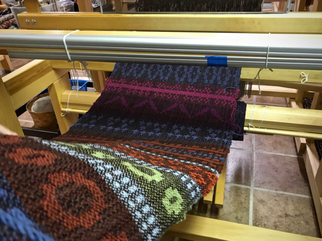 Drawloom samplers unrolled! 6/2 tuna wool warp and weft.