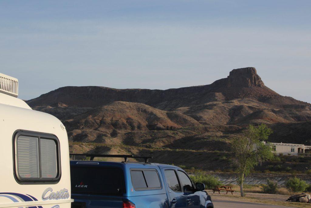 Casita in Maverick Ranch RV Park at the base of Lajitas Mesa.