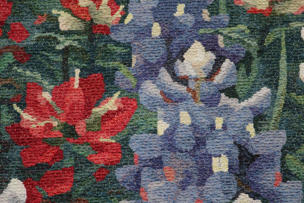 Detail of Texas Wildflowers, tapestry by Joanne Hall.