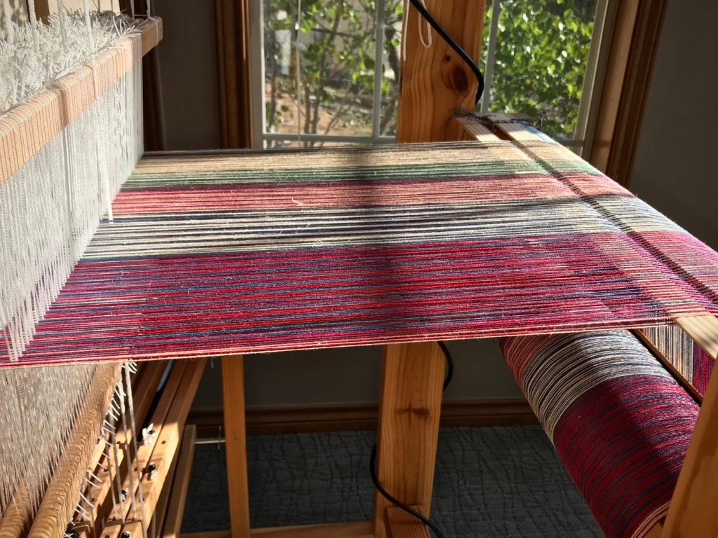 Afternoon sun on a new warp.