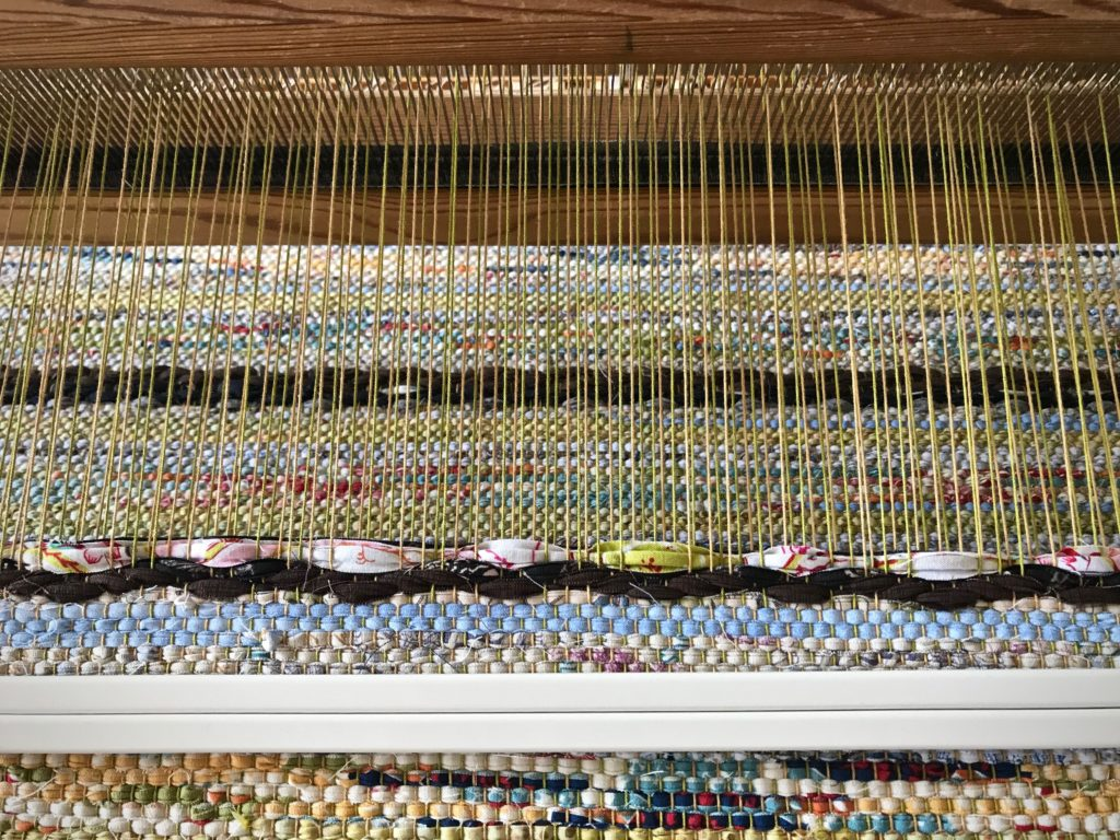 One type of inlay on a rag rug.