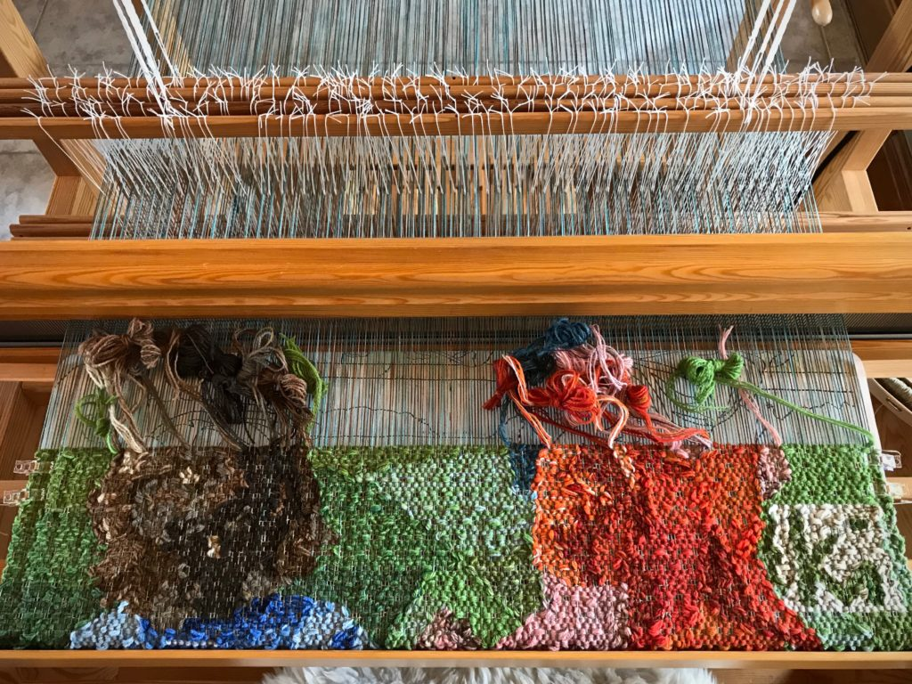 Siblings tapestry in progress. Glimakra Standard loom.