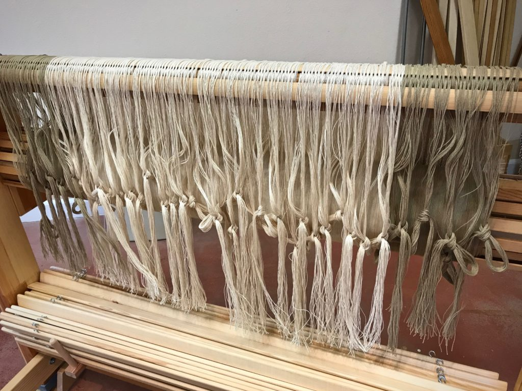 Drawloom - rug warp is ready for threading.