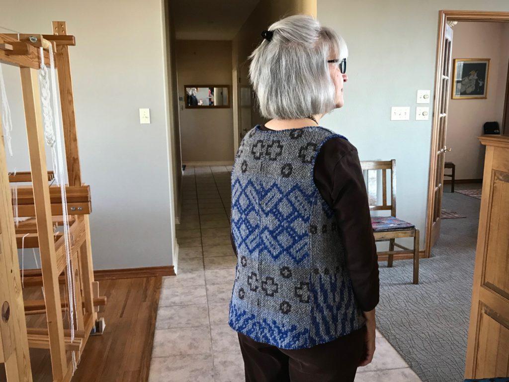Reversible handwoven vest.