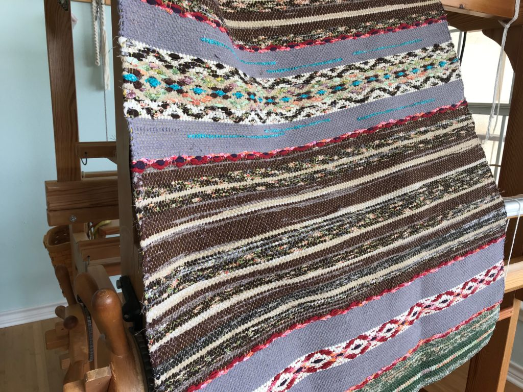 Rosepath rag rug, fresh off the loom.