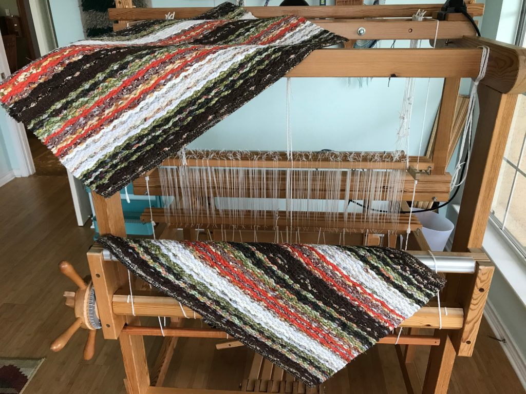 "Handwoven rag rugs, named ""Blessed Assurance."" Made for a friend."