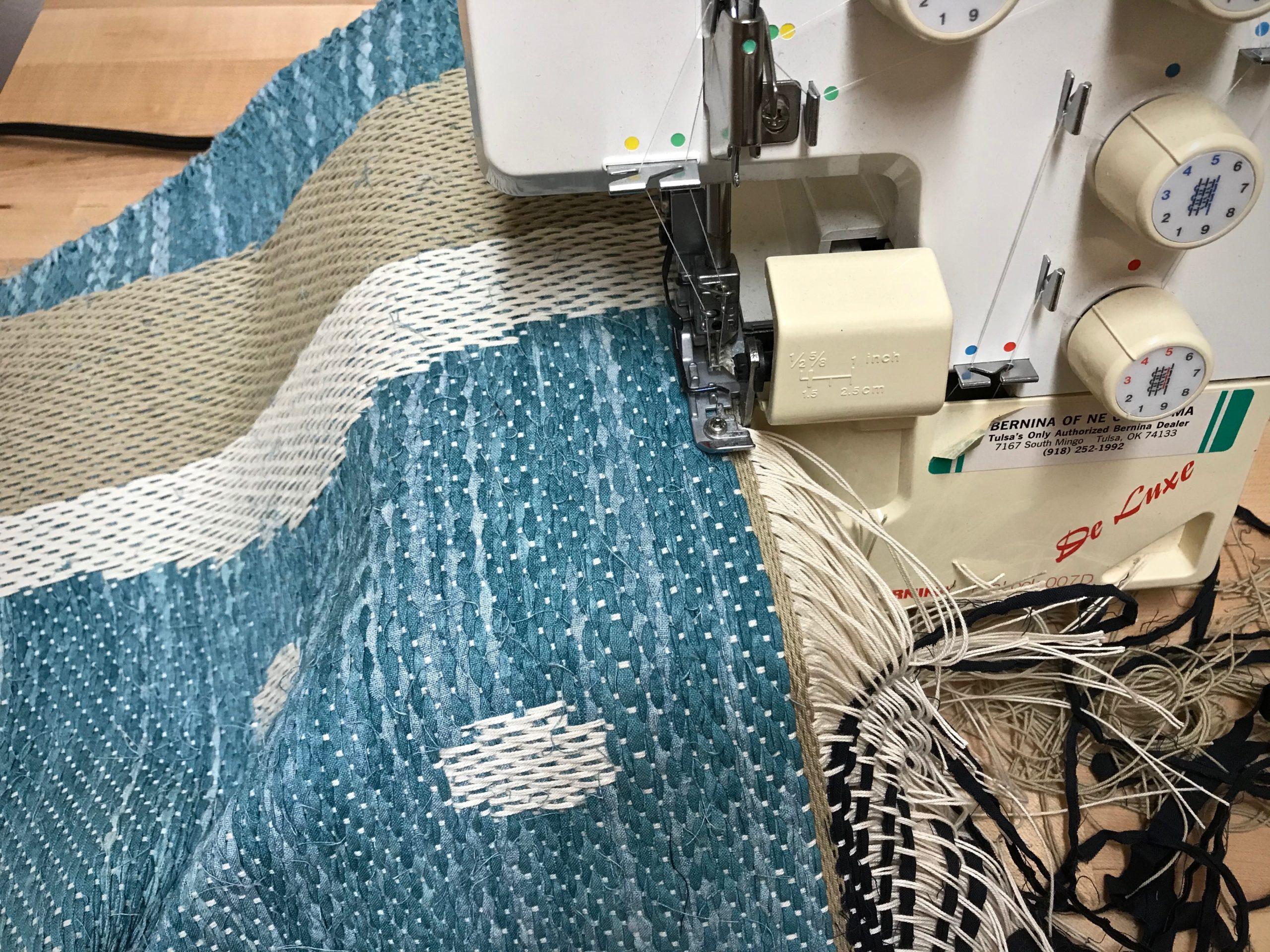 Drawloom rag rug finishing details.