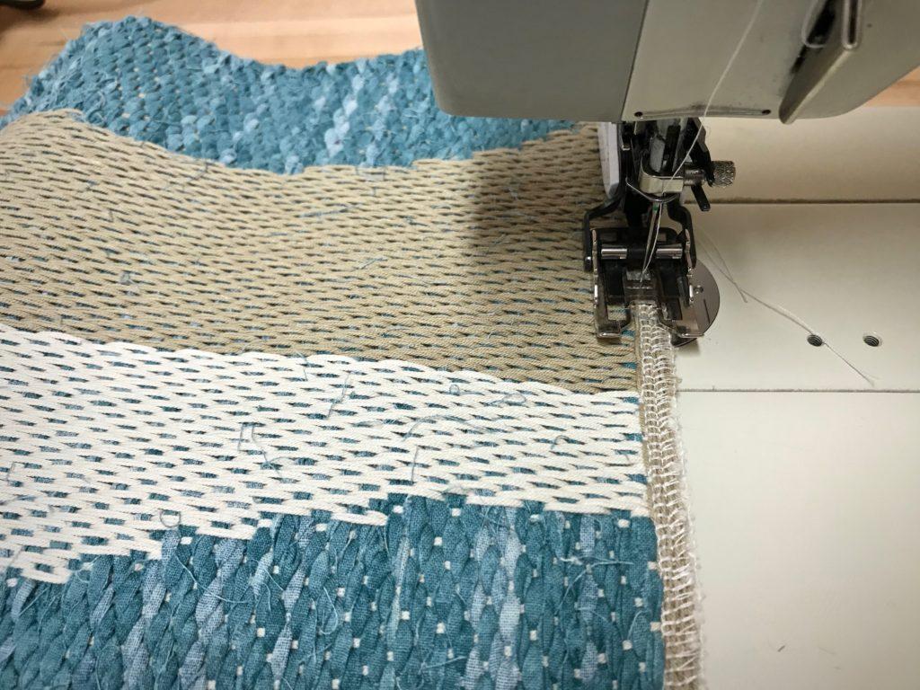 Finishing drawloom rag rug - steps.