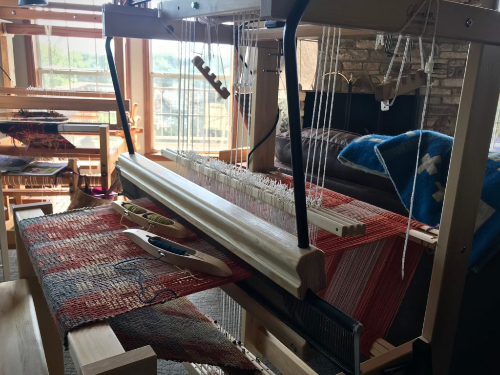 Swedish loom corner in the living room. New Glimakra Julia.