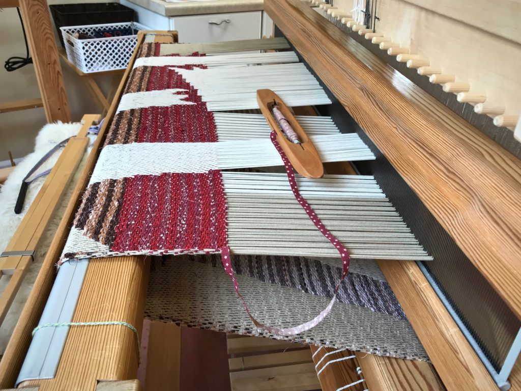 Drawloom rag rug on the loom.