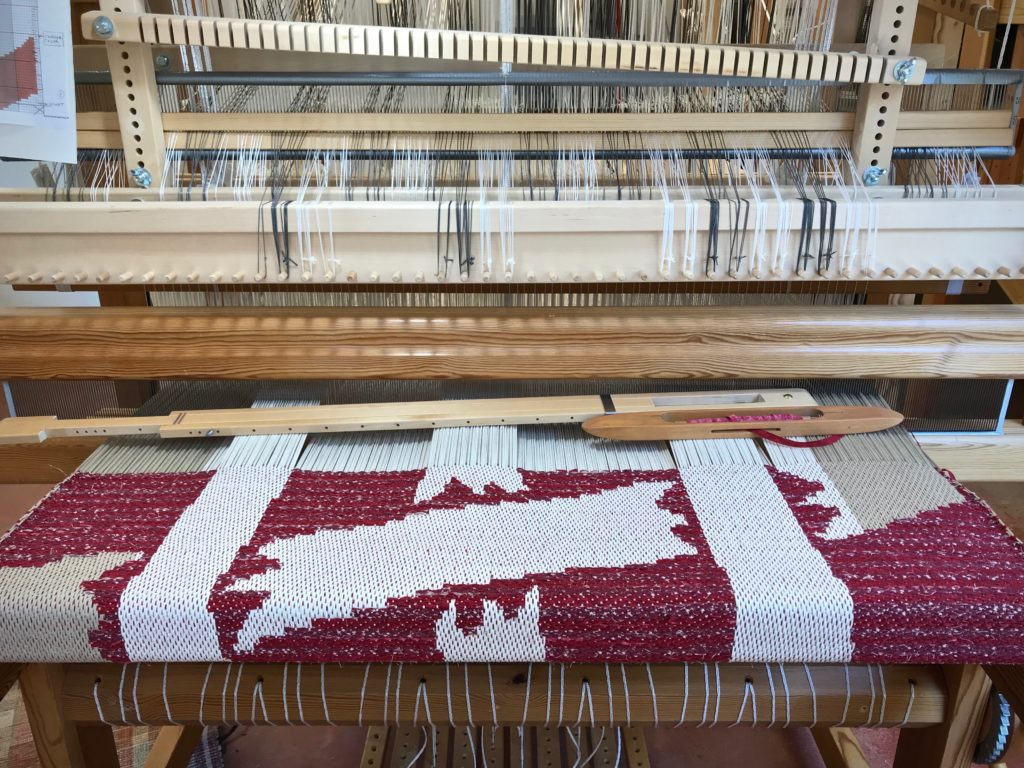 Drawloom rag rug in the making.