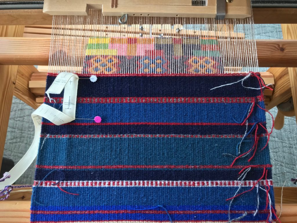 Handwoven shoulder bag in progress.