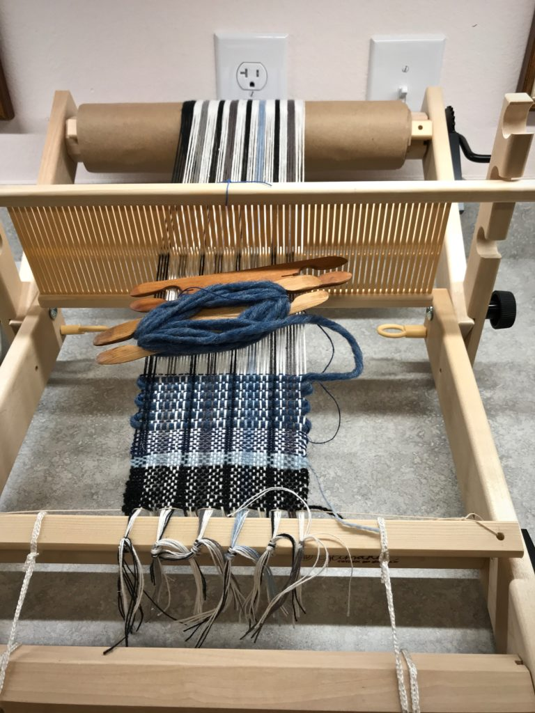 Mug rugs on Glimåkra Emilia rigid heddle loom.