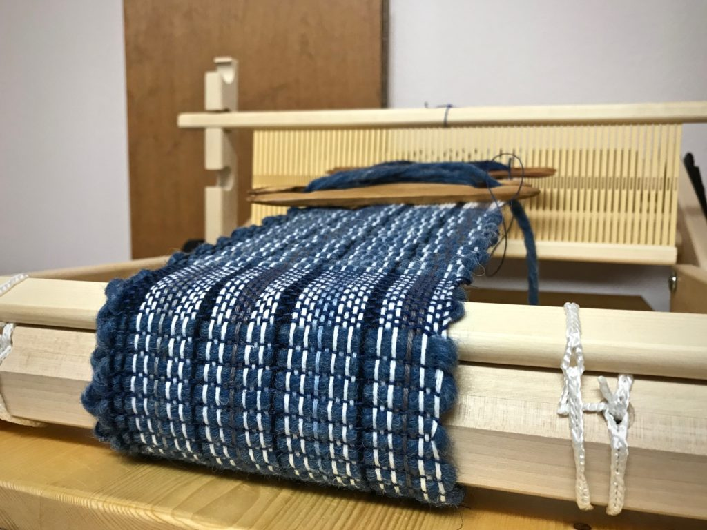 Mug rugs on my Glimakra Emilia rigid heddle loom.