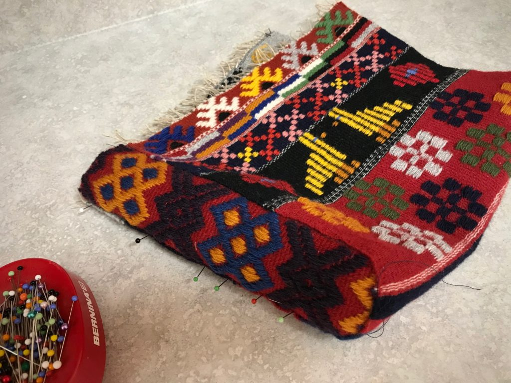 Making a bag from Swedish art weaves.