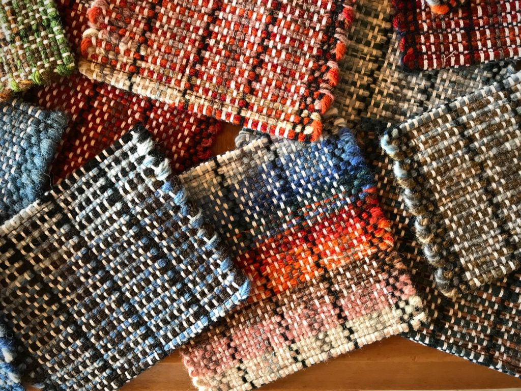 Wool handwoven coasters.