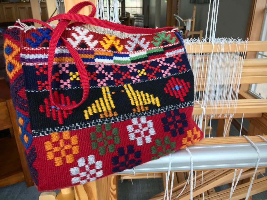 Handwoven bag made from Swedish art weaves.