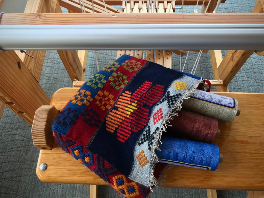 Handwoven Swedish art weaves bag just finished. Now, on to the next warp!