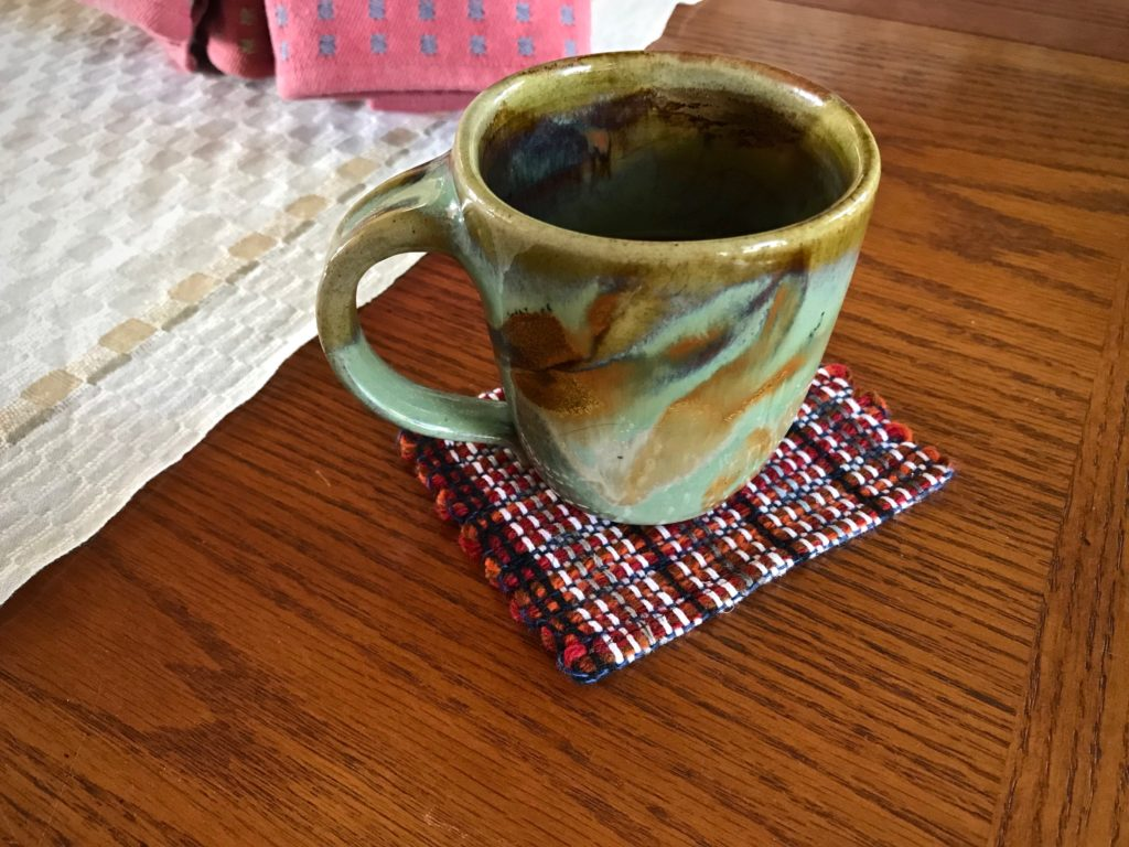 Coffee or tea, anyone? Handwoven mug rug.