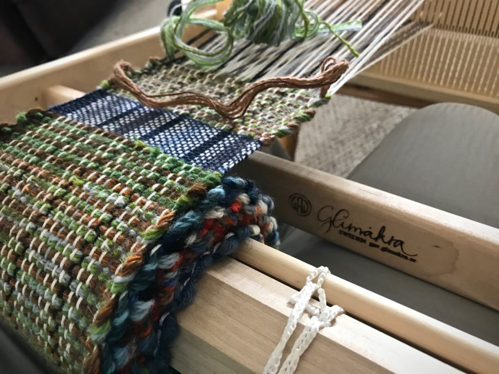 Weaving mug rugs on my Glimakra Emilia rigid heddle loom.