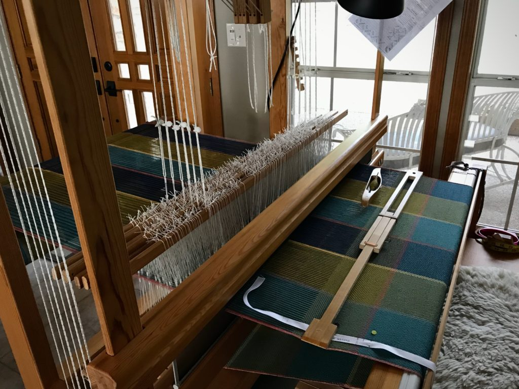 Cottolin bath towels on the loom.