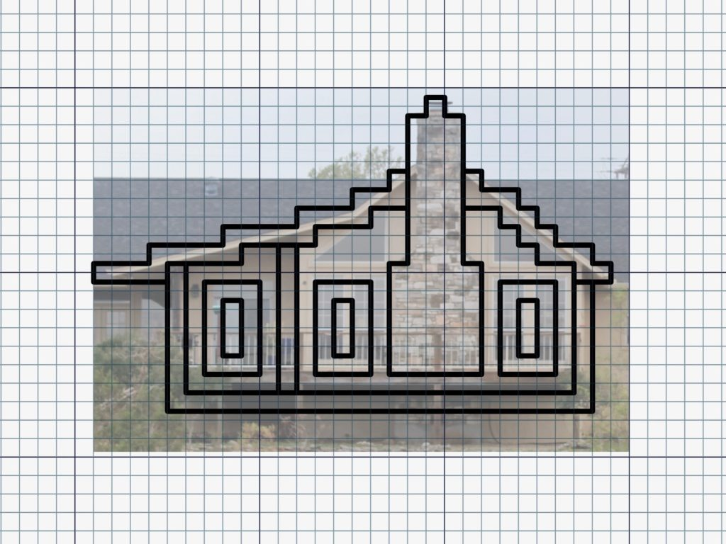 Creating a simple gridded pattern on the computer.