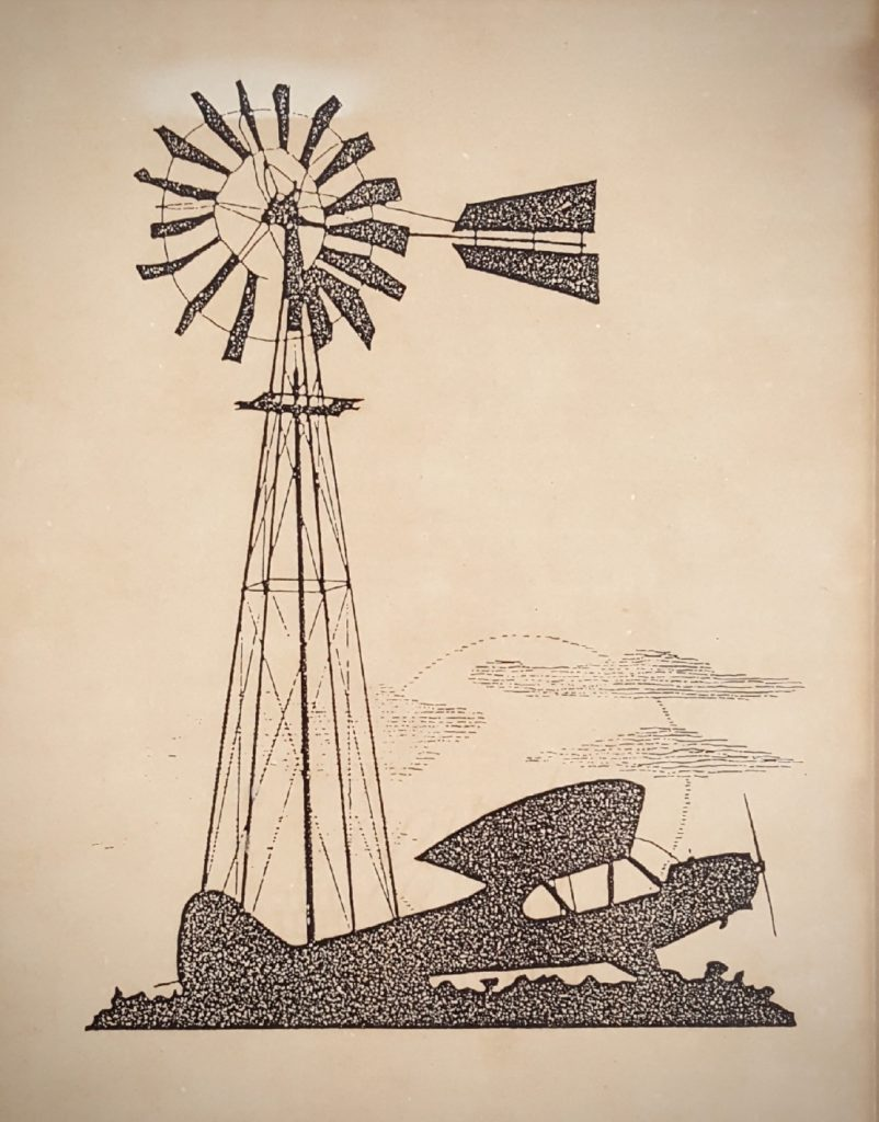 "Windmill and Taildragger Silhouette from an old ""Flying"" magazine."