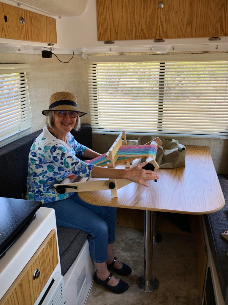 Weaving in the Casita Travel Trailer.