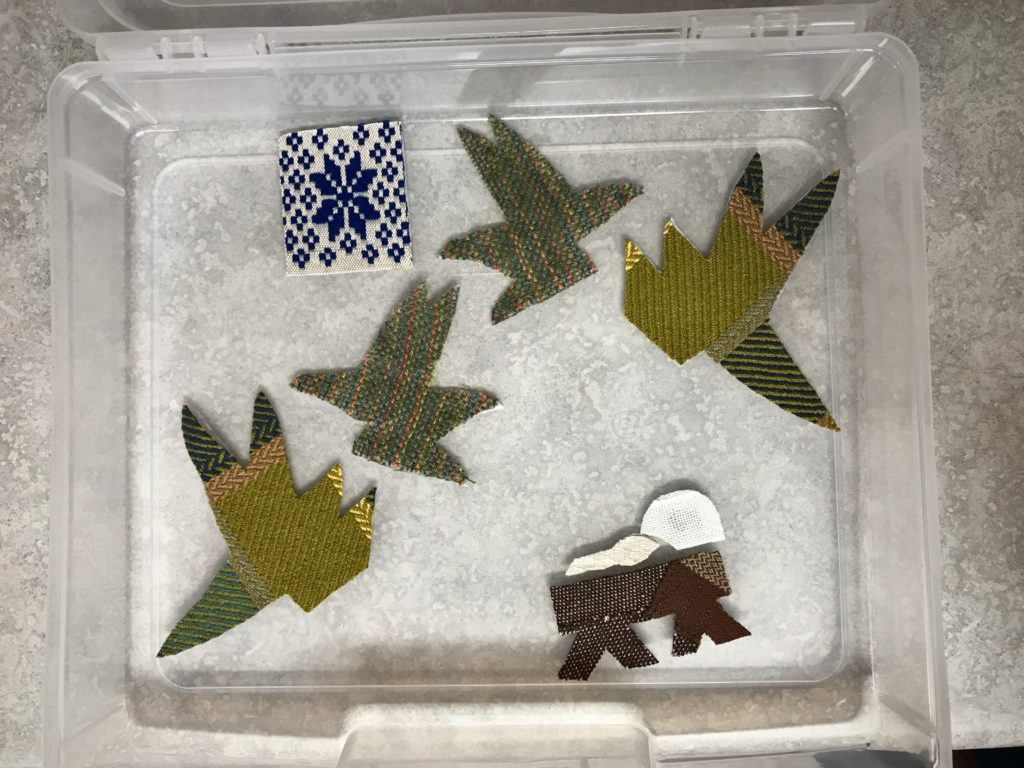 Making handwoven applique Nativity.