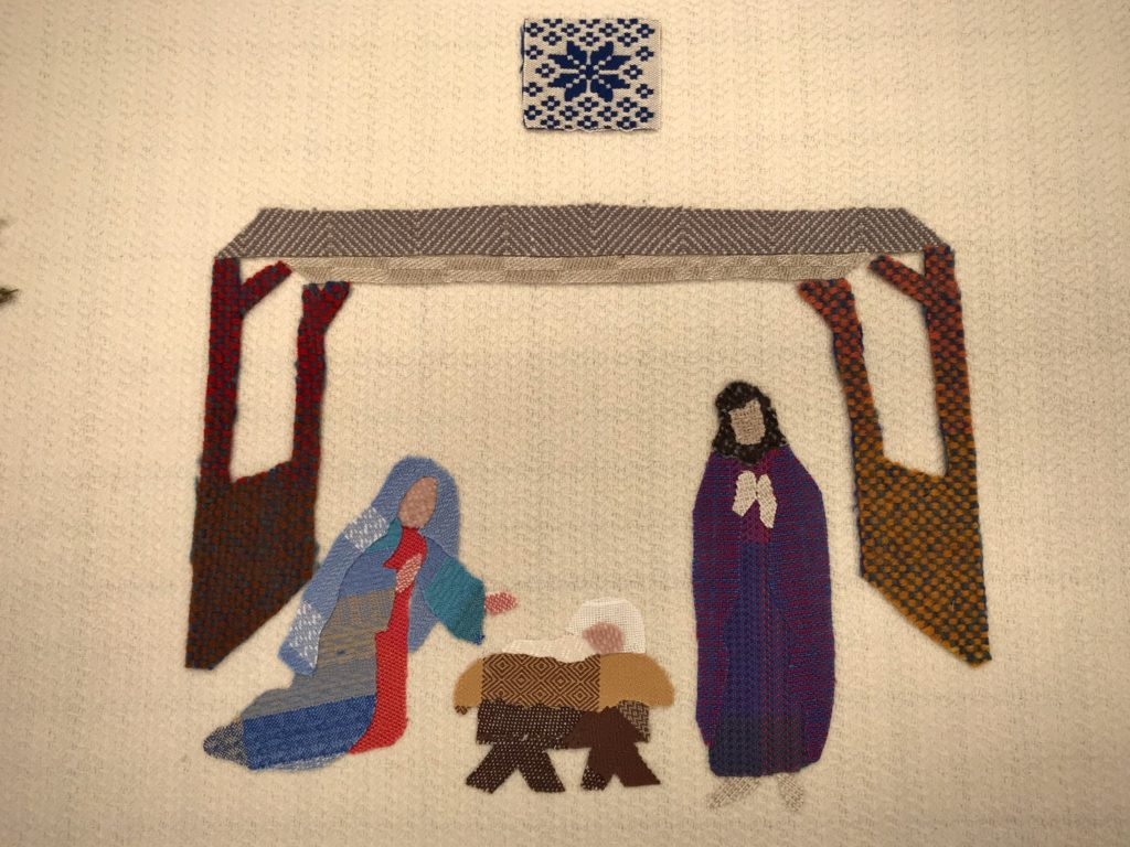 Handwoven applique Nativity scene.