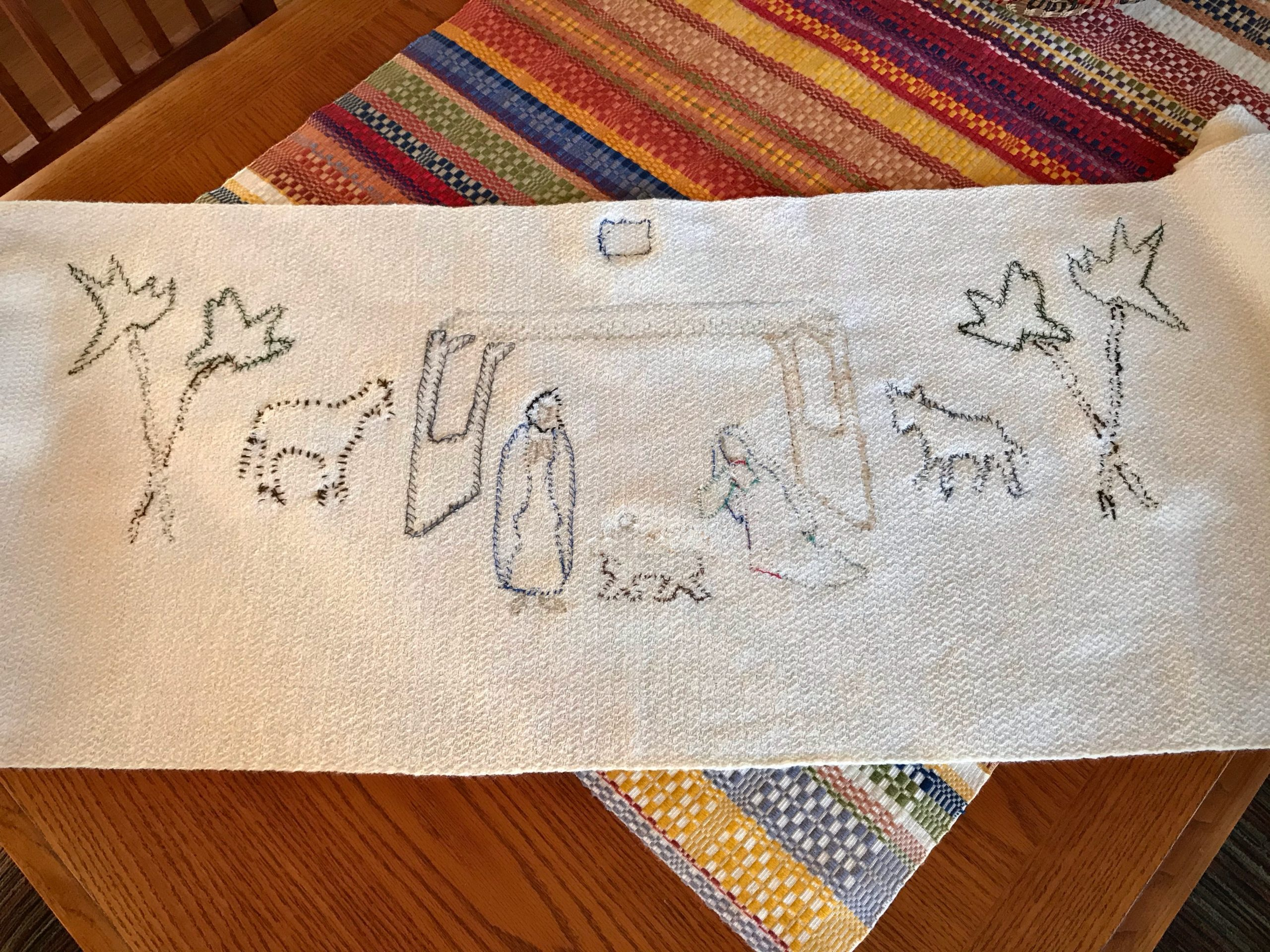 Reverse side of handwoven Nativity project.