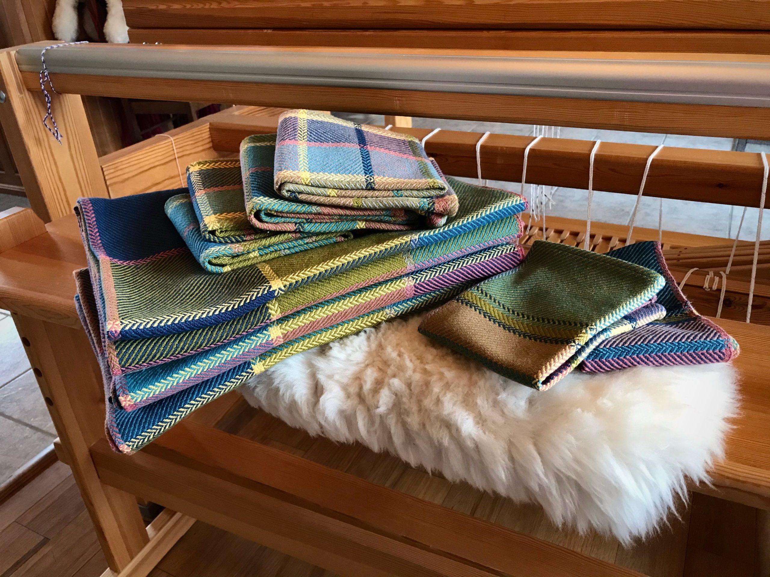 Cottolin bath set. Handwoven bath towels, hand towels, wash cloths.