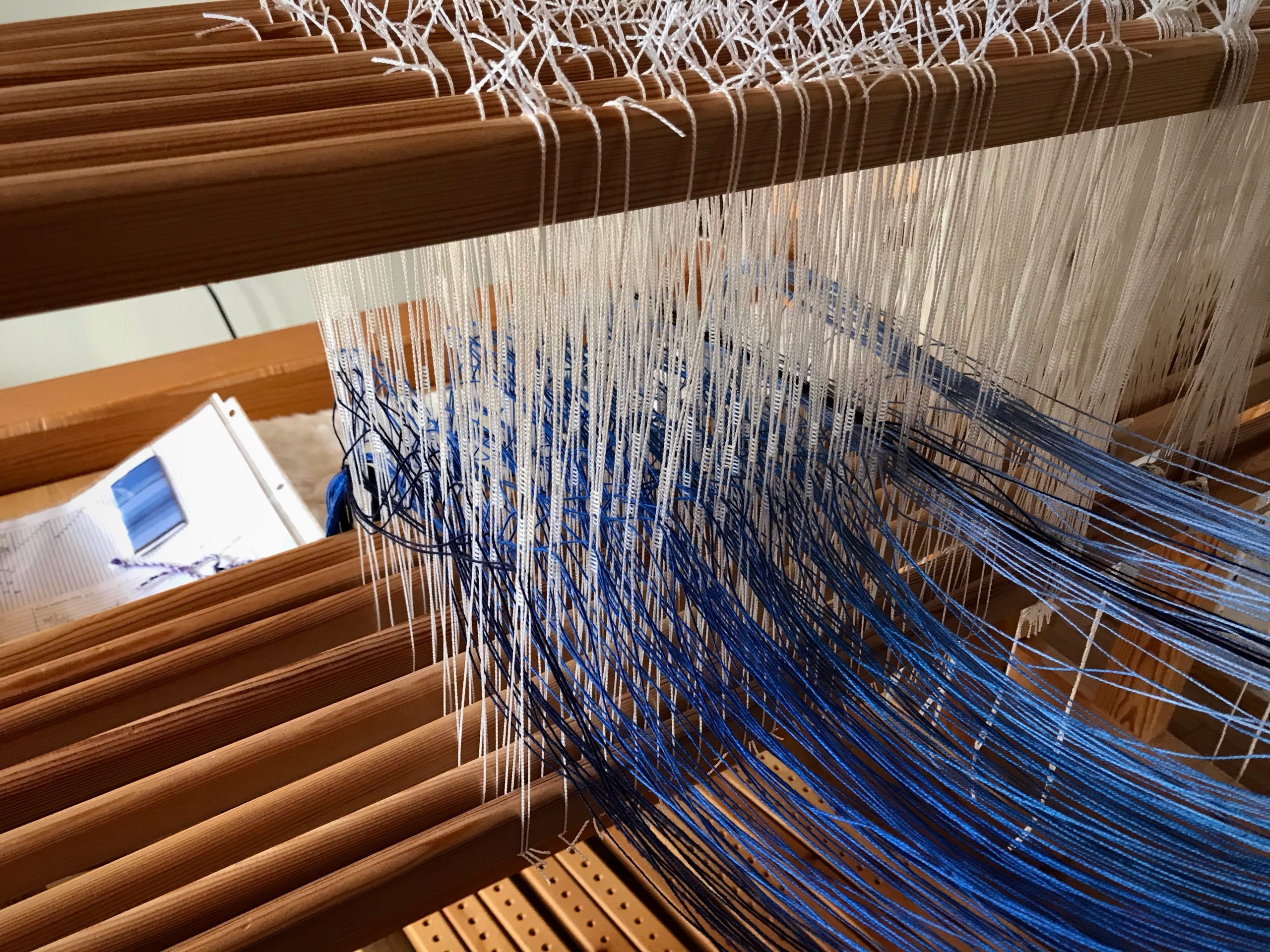 Threading heddles for 8-shaft twill.
